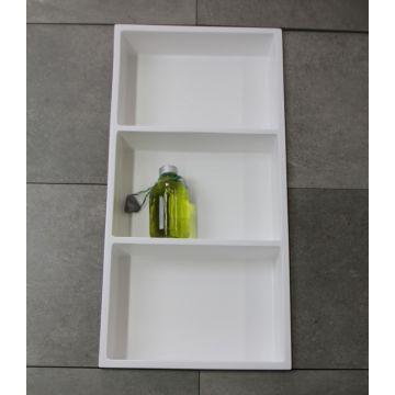 Luca Sanitair Luva inbouwnis/opbouwnis met 3 schappen van stone resin 59,5 x 29,5 x 8 cm, glanzend wit