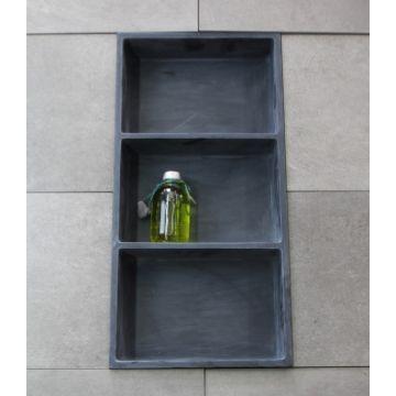 Luca Sanitair Luva inbouwnis/opbouwnis met 3 schappen van stone resin 59,5 x 29,5 x 8 cm, mat antraciet