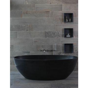 Luca Sanitair Luva vrijstaand bad van solid surface inclusief afvoerset chroom 180 x 80 x 60 cm, mat antraciet