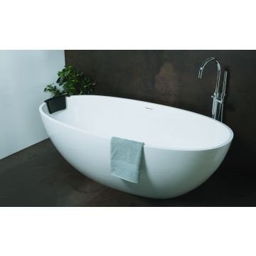 Luca Sanitair Luva vrijstaand bad van mineral stone inclusief afvoerset chroom 180 x 80 x 60 cm, glanzend wit