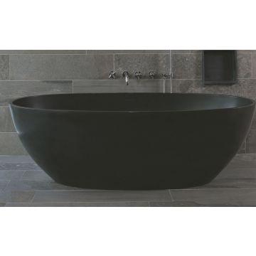 Luca Sanitair Luva vrijstaand bad van solid surface inclusief afvoerset chroom 180 x 93 x 56 cm, mat antraciet