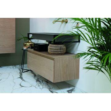 Riverdale wastafelonderkast greeploos hout fineer enkele lade softclose met 45 graden greep 140x35x45 cm, zonder bovenblad, desert oak