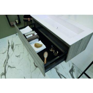 Riverdale onderkast greeploos hout decor enkele lade softclose met recht front 100x35x45 cm, zonder bovenblad, zilver eiken