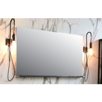 Riverdale spiegel op frame met LED boven- en onderverlichting 120x60x3 cm, aluminium