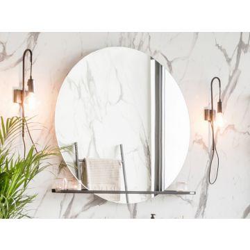 Riverdale spiegel rond op frame met LED-verlichting rondom en touch schakelaar 70 cm, aluminium