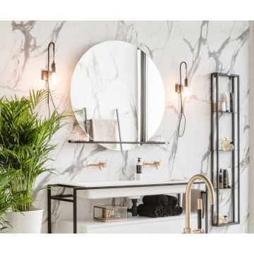 Riverdale spiegel rond op frame met LED-verlichting rondom en touch schakelaar 100 cm, aluminium