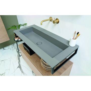 Riverdale Holmes quartz wastafel met 2 kraangaten inclusief plug 100x1x45 cm, beton