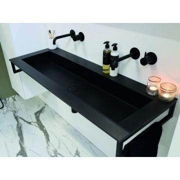 Riverdale Holmes quartz wastafel met 2 kraangaten inclusief plug 100x45 cm, zwart