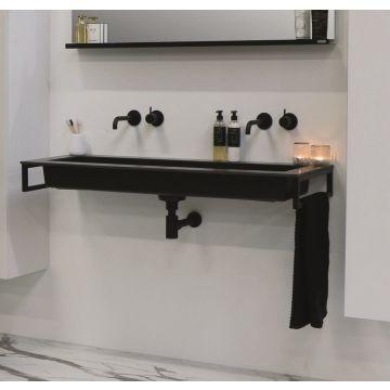 Riverdale Holmes quartz wastafel met 1 kraangat inclusief plug 100x45 cm, zwart