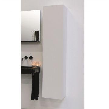 Riverdale hoge kast greeploos gelakt met 45 graden greep aan 1 zijde van de deur inclusief 4 glazen planchettes 163x35x35 cm, mat wit