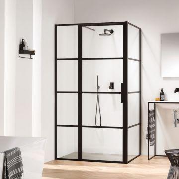 Sealskin Soho zijwand voor combinatie met een draaideur 90x210 cm, zwart-helder glas