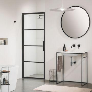 Sealskin Soho 1-delige deur linker versie voor nis of zijwand 80x210 cm, zwart-helder glas
