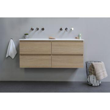 Sub Top wastafelonderkast greeploos hout decor 2x2 laden 120x46x52cm, light oak