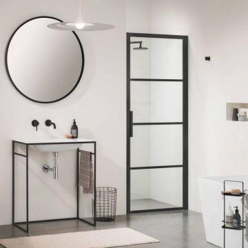 Sealskin Soho 1-delige deur rechter versie voor nis of zijwand 90x210 cm, zwart-helder glas