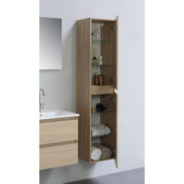 Sub Top hoge kast greeploos hout decor 2 deurs incl. 4 glazen leggers 35x35x169cm, light oak