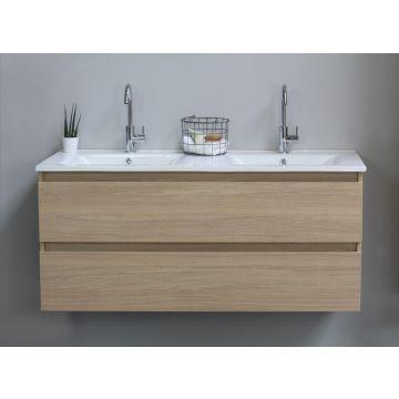 Sub Top wastafelonderkast greeploos hout decor 2 laden 120x46x52cm, light oak