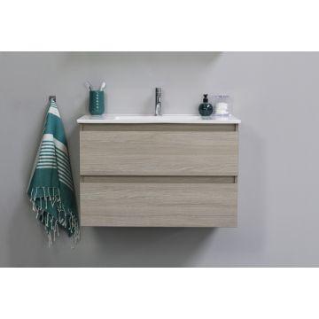Sub Top wastafelonderkast greeploos hout decor 2 laden 100x46x52cm, grey oak