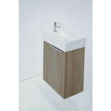 Sub Top fonteinpack porseleinen fontein kraangat links en wastafelonderkast greeploos houtdecor 1 deur links, dark oak