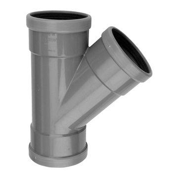 Wavin schuiffitting met 3 aansluiting Wafix SN4 125 mm, T-stuk 45°, PVC, grijs