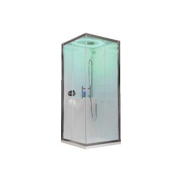 Novellini Eon A douchecabine met hydromassage en afdekkap 90 x 90 cm met hoge douchebak, wit paneel en mat chroom profiel, helder glas