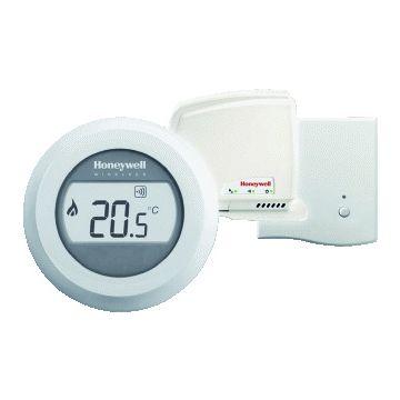 Honeywell Round Wireless kamerthermostaat Opentherm met ontvanger, batterij en draaiknop, wit