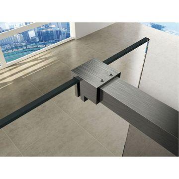 Wiesbaden Slim profielset met stabilisatiestang 120 cm, geborsteld staal
