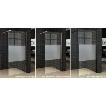 Wiesbaden Slim zijwand voor inloopdouche gedeeltelijk matglas nano zonder profiel 100 cm 8 mm, transparant