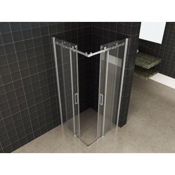 Wiesbaden Corner douchecabine met schuifdeuren 90x90 cm 8 mm NANO-coating, chroom
