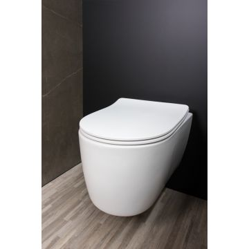 Qisani Alfa Comfort hangend toilet, diepspoel spoelrandloos, matwit