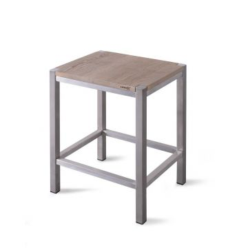 LoooX Wood Stool kruk met frame massief eiken 35x30x45 cm, eiken/geborsteld rvs