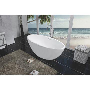 Wiesbaden Oval vrijstaand ligbad acryl met overloop en clickwaste 170 x 78 x 60 cm, mat wit