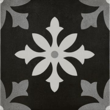 Sub 1742 keramische patchwork tegel 22,3x22,3 cm, degas negro