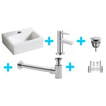 Sub Leto One Pack fontein met Amador fonteinkraan, wit/chroom