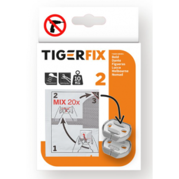 Tiger TigerFix type 2, set van 2 stuks, 3,3 x 0,6 x 2,9 cm, chroom