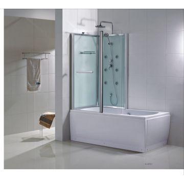Wiesbaden Vanity bad-douche combinatie links met veiligheidsglas 170 x 85 x 218 cm, chroom