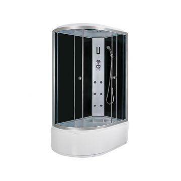Sub Premium bad-douche combinatie met veiligheidsglas 130 x 85 x 220 cm, aluminium