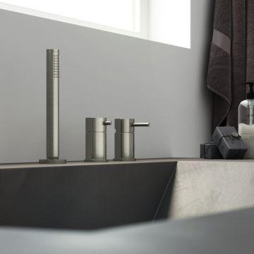 Hotbath Archie badrandcombinatie één hendel mengkraan zonder uitloop met 2-weg omstel, RVS 316