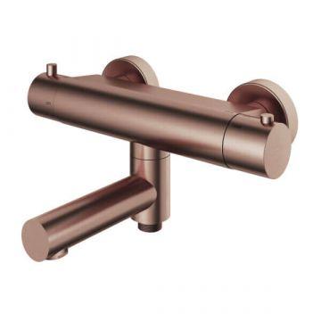 Hotbath Buddy thermostatische badmengkraan met wegdraaibare uitloop met omstelling, geborsteld koper PVD
