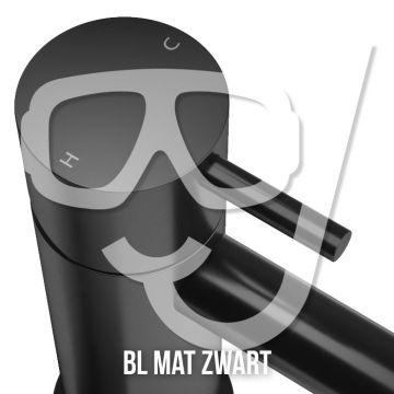 Hotbath Cobber afbouwdeel voor inbouwdouchethermostaat HBCB7067 met horizontale plaatsing, mat zwart