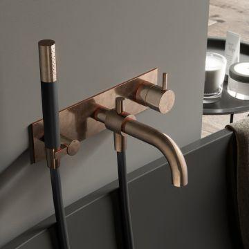 Hotbath Cobber afbouwdeel inbouw douche-/badmengkraan met automatische omstelinrichting, doucheslang en handdouche, verouderd messing