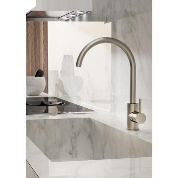 Hotbath Cobber keukenkraan 36 cm hoog met draaibare uitloop van 22 cm, gepolijst messing PVD