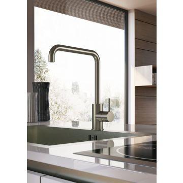 Hotbath Cobber keukenkraan 31,5 cm hoog met draaibare u-uitloop van 23 cm, geborsteld koper PVD