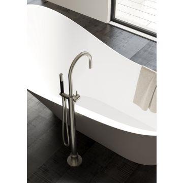 Hotbath Cobber vrijstaande badmengkraan 105,5 cm hoog met gebogen uitloop van 22,5 cm, geborsteld messing pvd