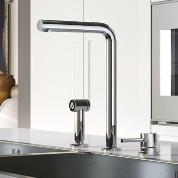 Hotbath Fellow 3-gats keukenmengkraan met uitneembare handdouche, verouderd ijzer