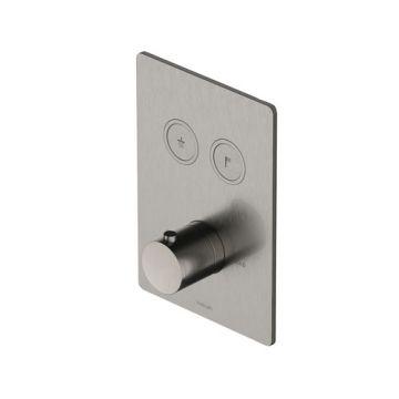 Hotbath Cobber rechthoekige afbouwdeel voor inbouwthermostaat met 2 pushbuttons, geborsteld nikkel