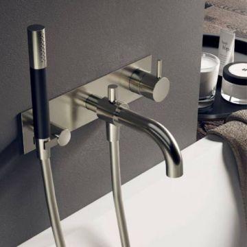 Hotbath Cobber afbouwdeel inbouw douche-/badmengkraan met automatische omstelinrichting, doucheslang en handdouche, geborsteld koper PVD