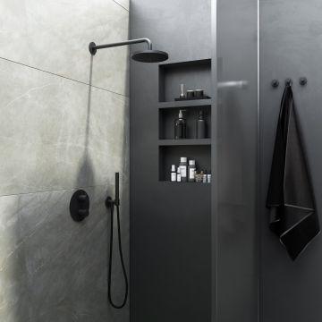 Hotbath Cobber complete thermostatische douche-inbouwset met 2-weg-omstel, mat zwart