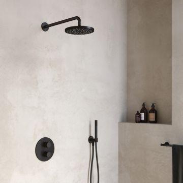 Hotbath Cobber complete thermostatische douche-inbouwset met 2-weg-omstel, geborsteld nikkel