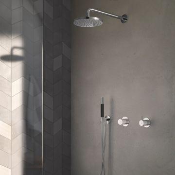 Hotbath Cobber complete douche-inbouwset met inbouw douchemengkraan en 2-weg-omstel, mat zwart