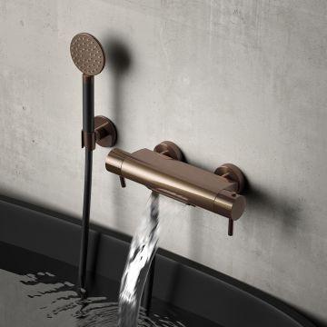 Hotbath Buddy thermostatische badmengkraan met cascade-uitloop, mat zwart